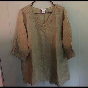 Tan 3/4 length sleeve top
